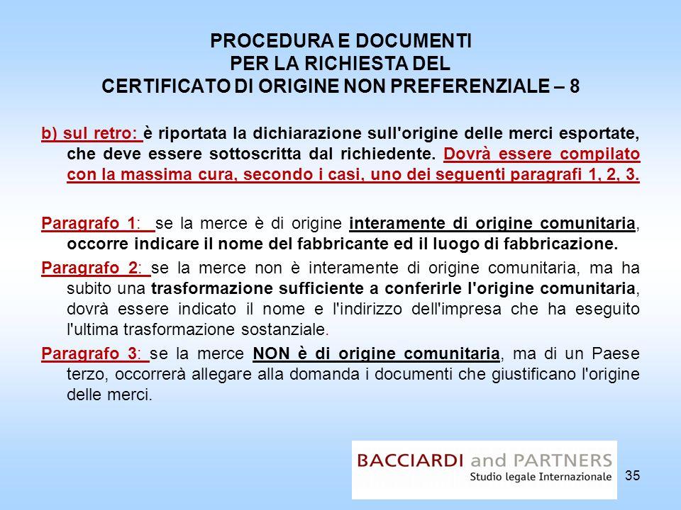 PROCEDURA E DOCUMENTI PER LA RICHIESTA DEL CERTIFICATO DI ORIGINE NON PREFERENZIALE – 8