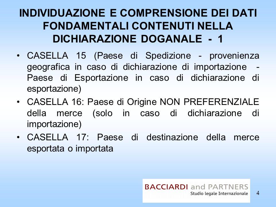 INDIVIDUAZIONE E COMPRENSIONE DEI DATI FONDAMENTALI CONTENUTI NELLA DICHIARAZIONE DOGANALE - 1
