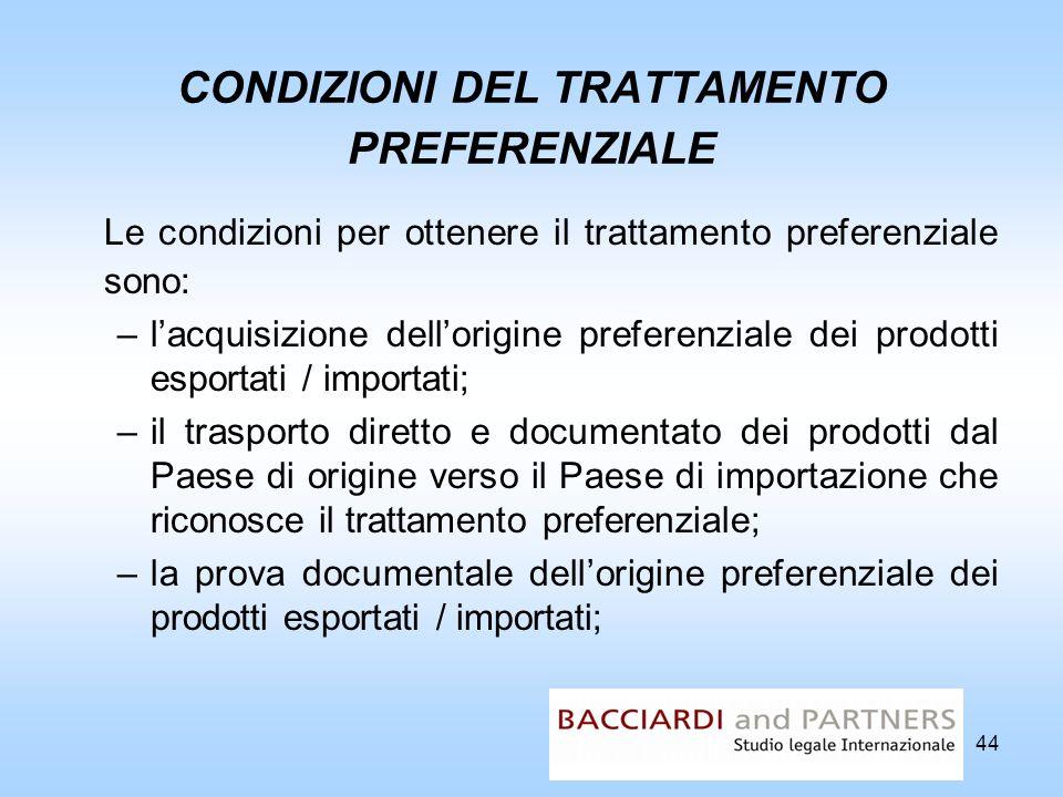 CONDIZIONI DEL TRATTAMENTO PREFERENZIALE