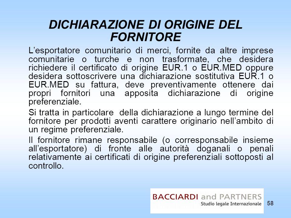 DICHIARAZIONE DI ORIGINE DEL FORNITORE