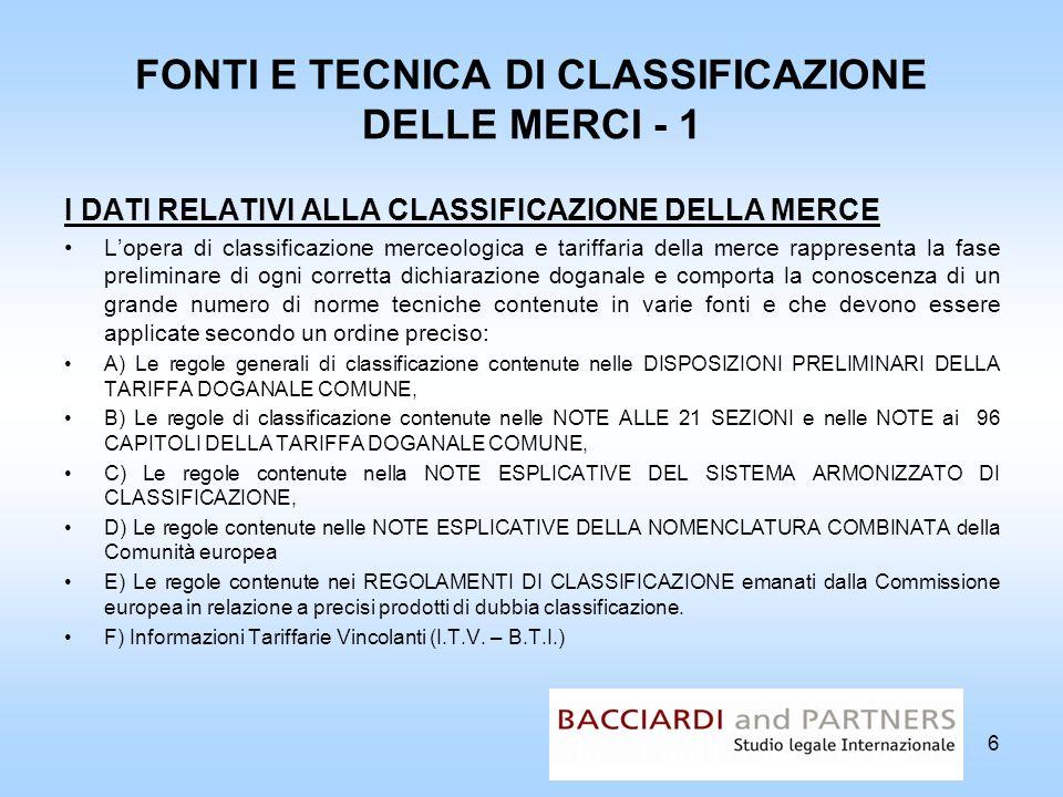 FONTI E TECNICA DI CLASSIFICAZIONE DELLE MERCI - 1