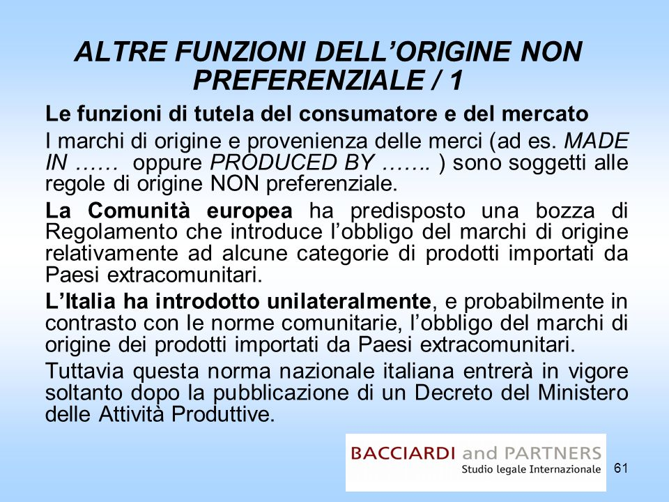 ALTRE FUNZIONI DELL'ORIGINE NON PREFERENZIALE / 1