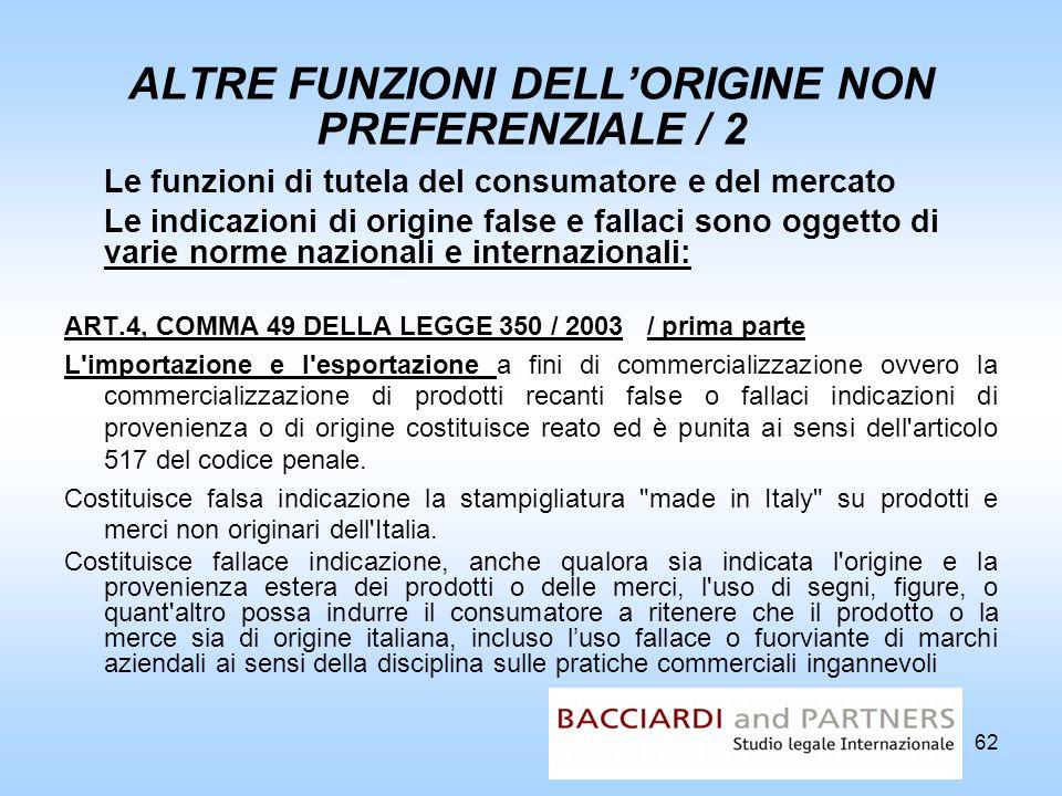 ALTRE FUNZIONI DELL'ORIGINE NON PREFERENZIALE / 2