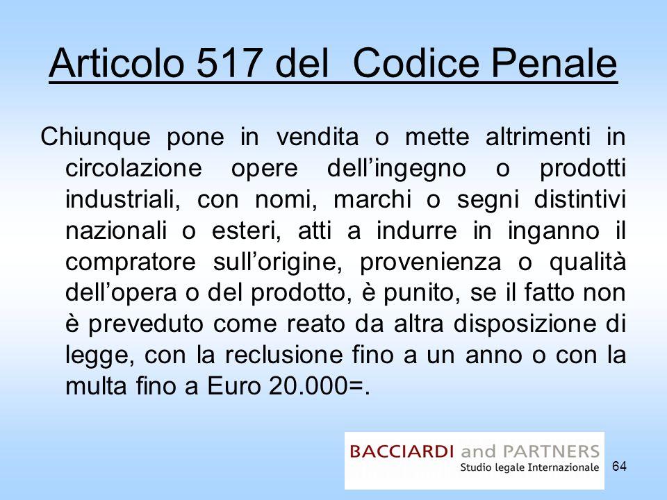 Articolo 517 del Codice Penale