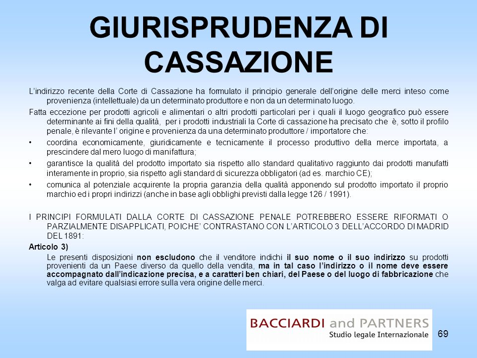 GIURISPRUDENZA DI CASSAZIONE