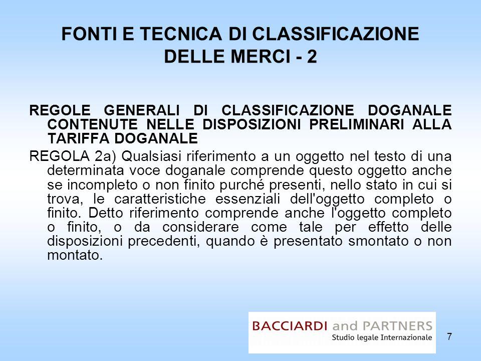 FONTI E TECNICA DI CLASSIFICAZIONE DELLE MERCI - 2