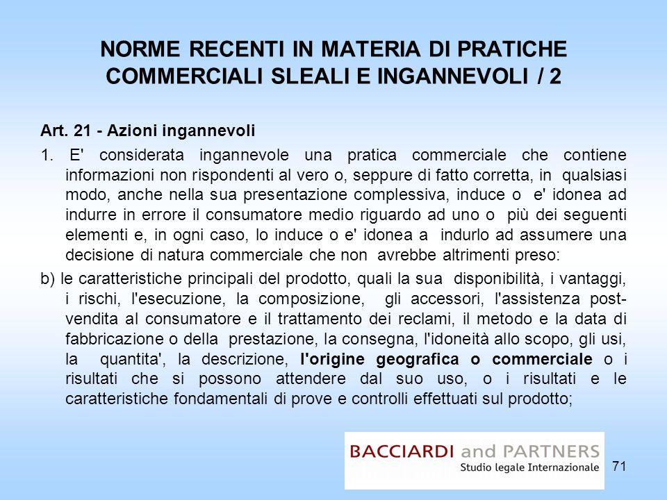 NORME RECENTI IN MATERIA DI PRATICHE COMMERCIALI SLEALI E INGANNEVOLI / 2