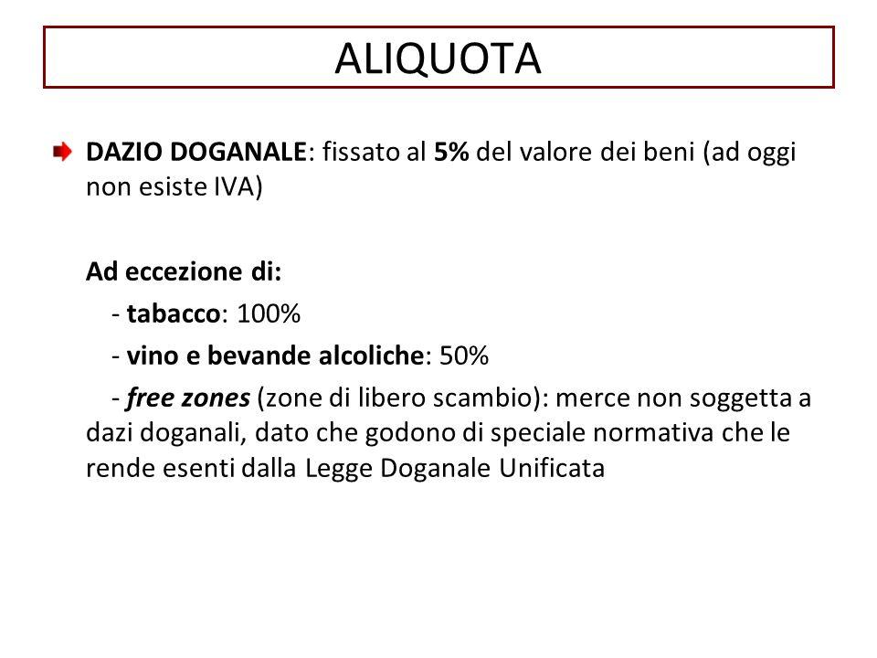 ALIQUOTA DAZIO DOGANALE: fissato al 5% del valore dei beni (ad oggi non esiste IVA) Ad eccezione di:
