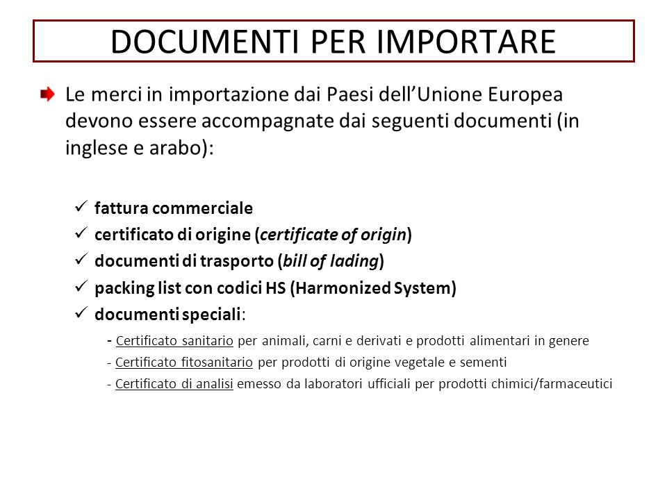 DOCUMENTI PER IMPORTARE