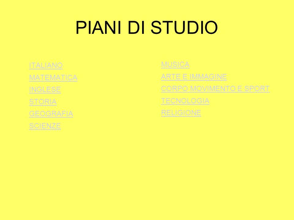 PIANI DI STUDIO ITALIANO MUSICA ARTE E IMMAGINE MATEMATICA INGLESE