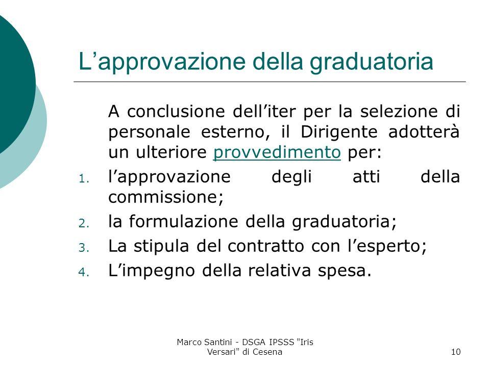 L'approvazione della graduatoria