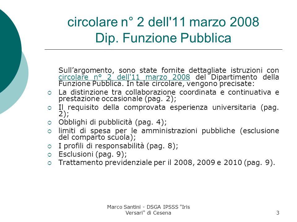 circolare n° 2 dell 11 marzo 2008 Dip. Funzione Pubblica