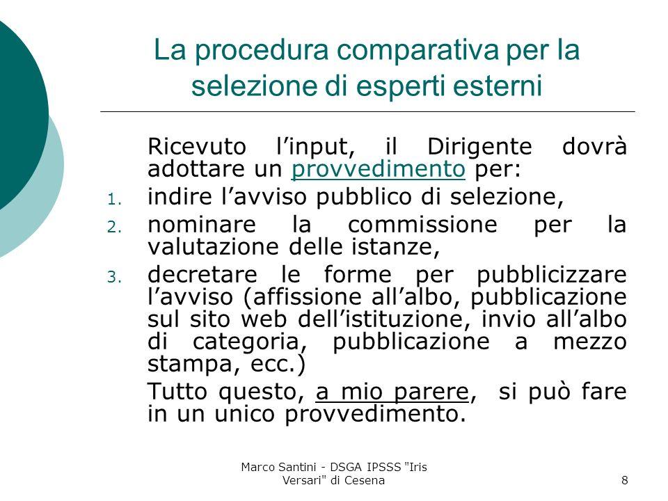 La procedura comparativa per la selezione di esperti esterni