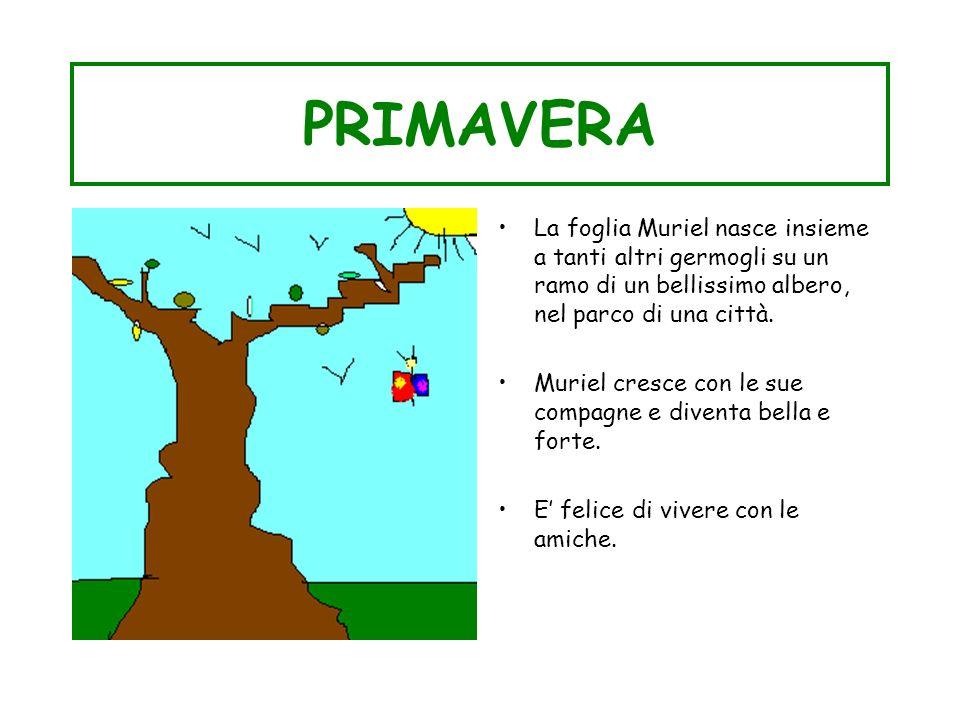 PRIMAVERALa foglia Muriel nasce insieme a tanti altri germogli su un ramo di un bellissimo albero, nel parco di una città.