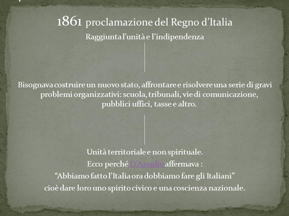 : 1861 proclamazione del Regno d'Italia
