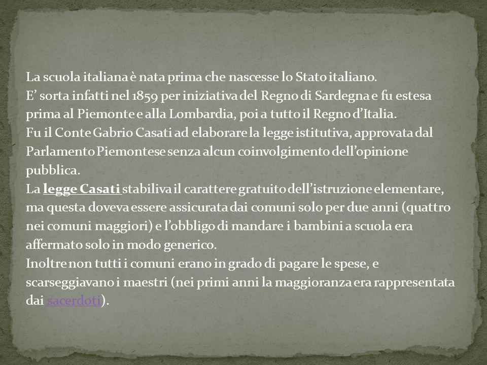 La scuola italiana è nata prima che nascesse lo Stato italiano