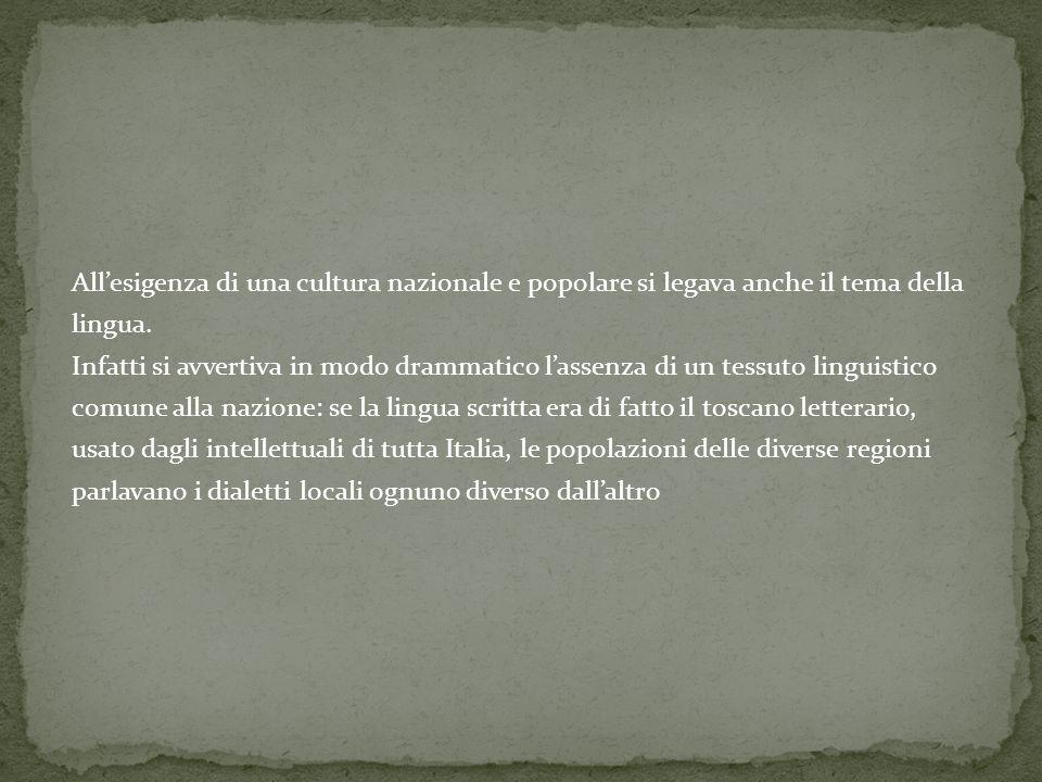 All'esigenza di una cultura nazionale e popolare si legava anche il tema della lingua.