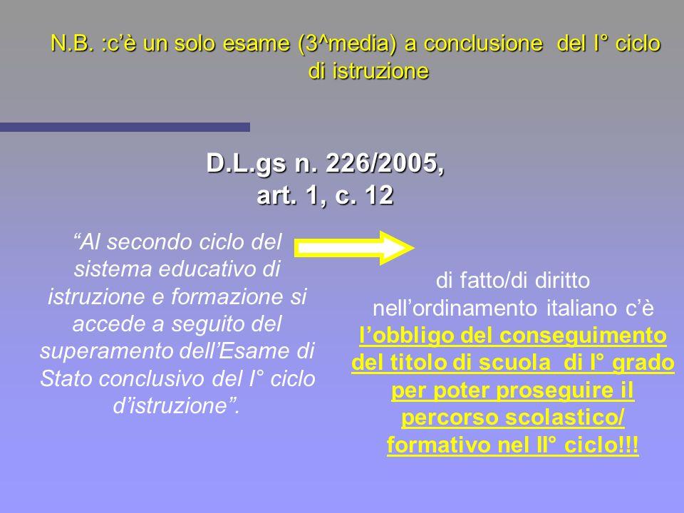 N.B. :c'è un solo esame (3^media) a conclusione del I° ciclo di istruzione