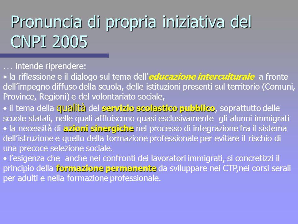 Pronuncia di propria iniziativa del CNPI 2005