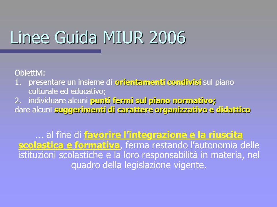 Linee Guida MIUR 2006 Obiettivi: presentare un insieme di orientamenti condivisi sul piano culturale ed educativo;