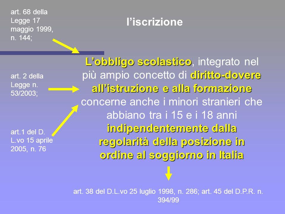 l'iscrizione art. 68 della Legge 17 maggio 1999, n. 144; art. 2 della Legge n. 53/2003; art.1 del D. L.vo 15 aprile 2005, n. 76.
