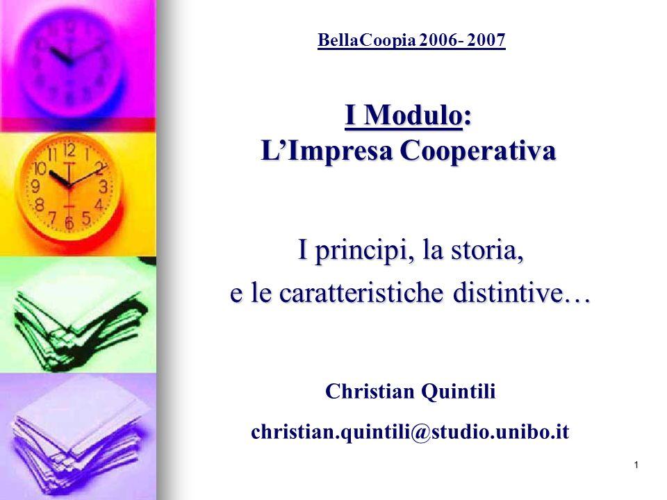 I Modulo: L'Impresa Cooperativa