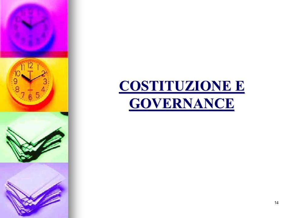 COSTITUZIONE E GOVERNANCE