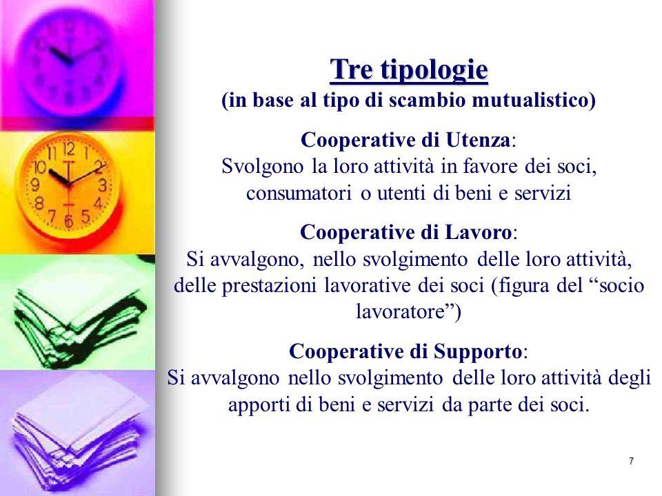 Tre tipologie (in base al tipo di scambio mutualistico)