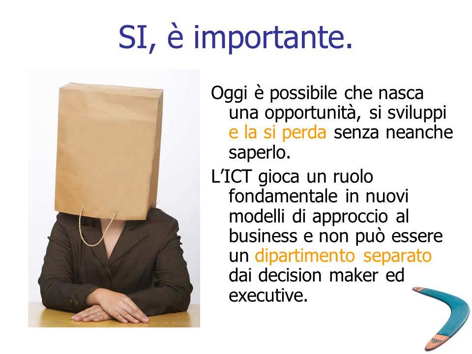 SI, è importante. Oggi è possibile che nasca una opportunità, si sviluppi e la si perda senza neanche saperlo.