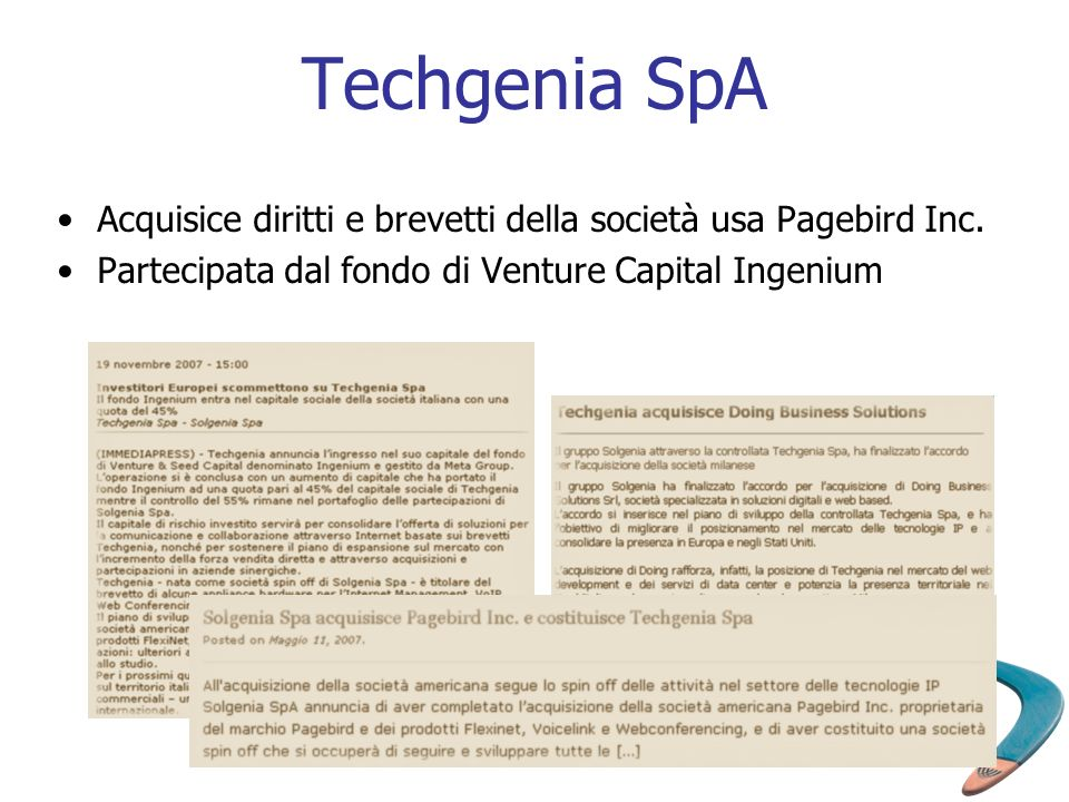 Techgenia SpA Acquisice diritti e brevetti della società usa Pagebird Inc.