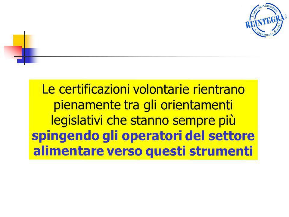 Le certificazioni volontarie rientrano pienamente tra gli orientamenti legislativi che stanno sempre più spingendo gli operatori del settore alimentare verso questi strumenti
