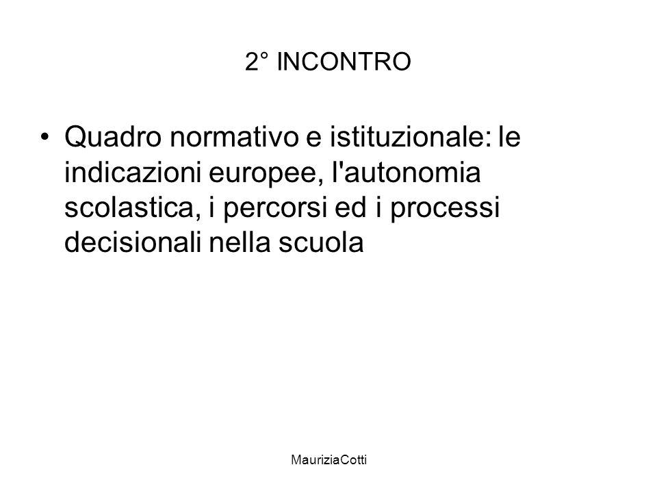 2° INCONTRO Quadro normativo e istituzionale: le indicazioni europee, l autonomia scolastica, i percorsi ed i processi decisionali nella scuola.