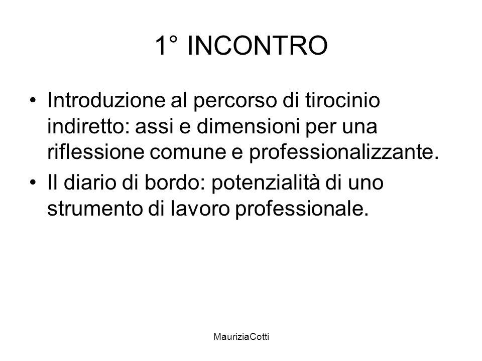 1° INCONTRO Introduzione al percorso di tirocinio indiretto: assi e dimensioni per una riflessione comune e professionalizzante.