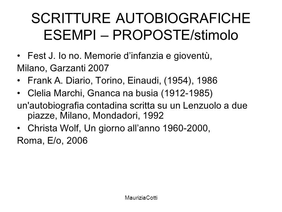 SCRITTURE AUTOBIOGRAFICHE ESEMPI – PROPOSTE/stimolo