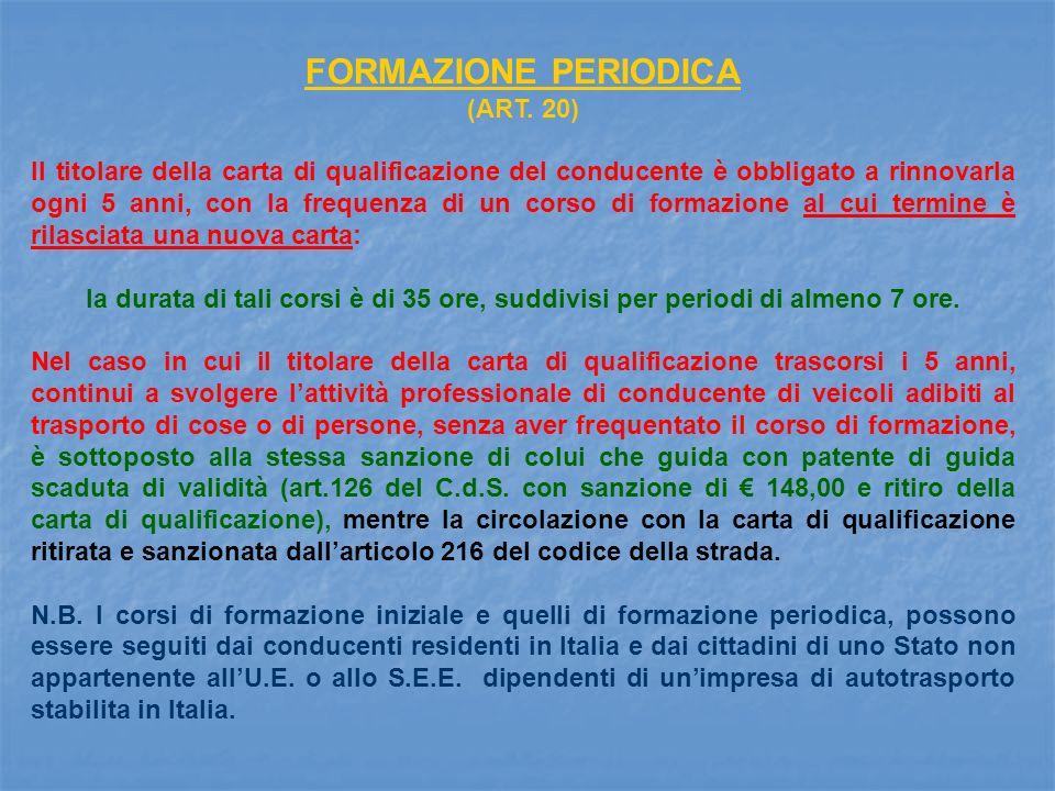 FORMAZIONE PERIODICA (ART. 20)