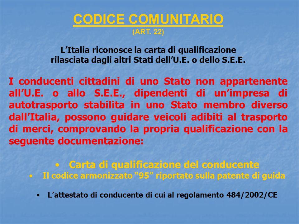 CODICE COMUNITARIO (ART. 22) L'Italia riconosce la carta di qualificazione. rilasciata dagli altri Stati dell'U.E. o dello S.E.E.