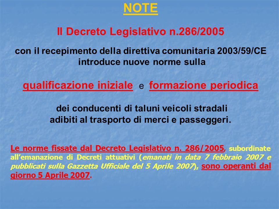 NOTE Il Decreto Legislativo n.286/2005