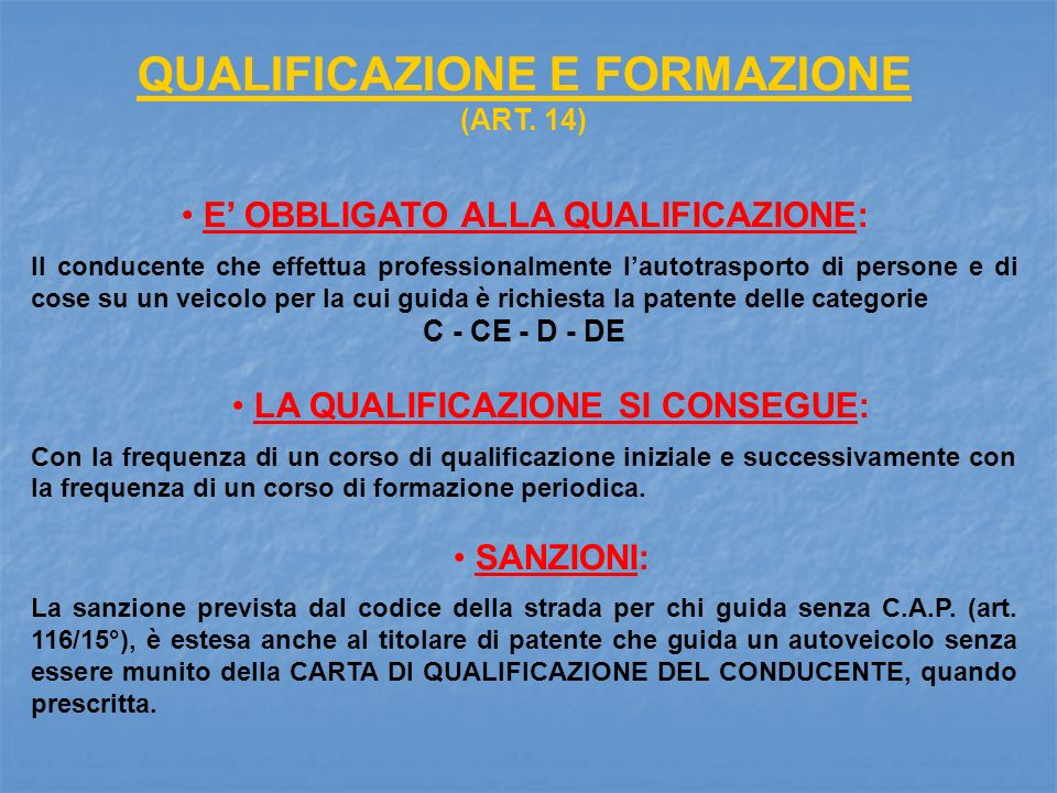 QUALIFICAZIONE E FORMAZIONE