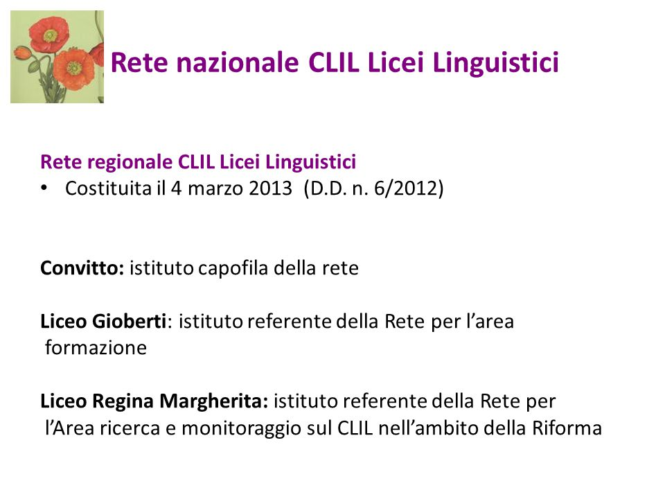 Rete nazionale CLIL Licei Linguistici