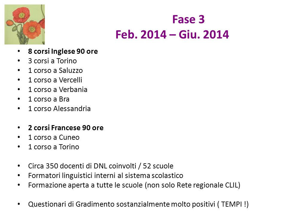 Fase 3 Feb. 2014 – Giu. 2014 8 corsi Inglese 90 ore 3 corsi a Torino
