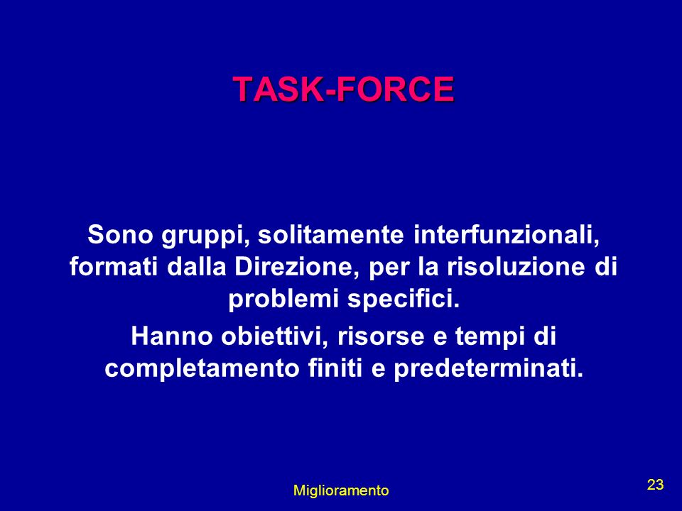 TASK-FORCE Sono gruppi, solitamente interfunzionali, formati dalla Direzione, per la risoluzione di problemi specifici.