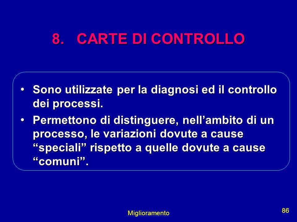 8. CARTE DI CONTROLLO Sono utilizzate per la diagnosi ed il controllo dei processi.