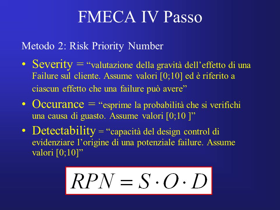 FMECA IV Passo Metodo 2: Risk Priority Number.