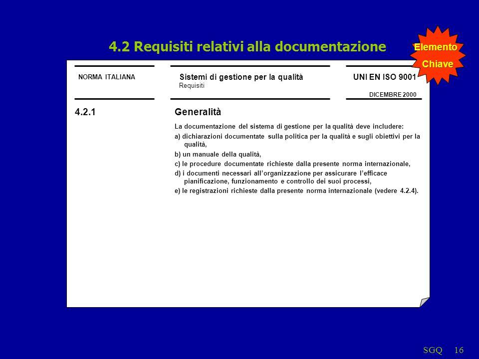 4.2 Requisiti relativi alla documentazione