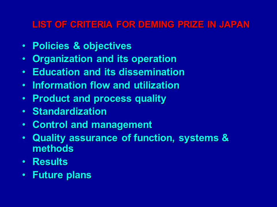 LIST OF CRITERIA FOR DEMING PRIZE IN JAPAN