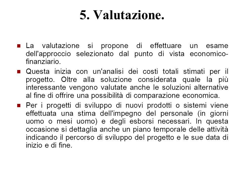 5. Valutazione. La valutazione si propone di effettuare un esame dell approccio selezionato dal punto di vista economico-finanziario.