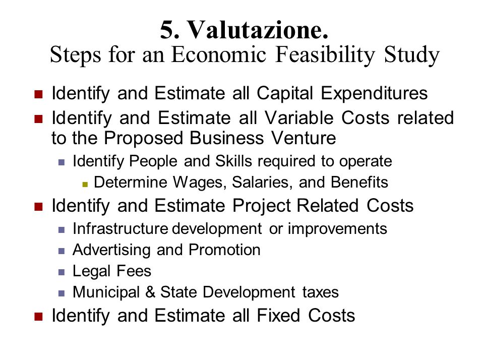 5. Valutazione. Steps for an Economic Feasibility Study