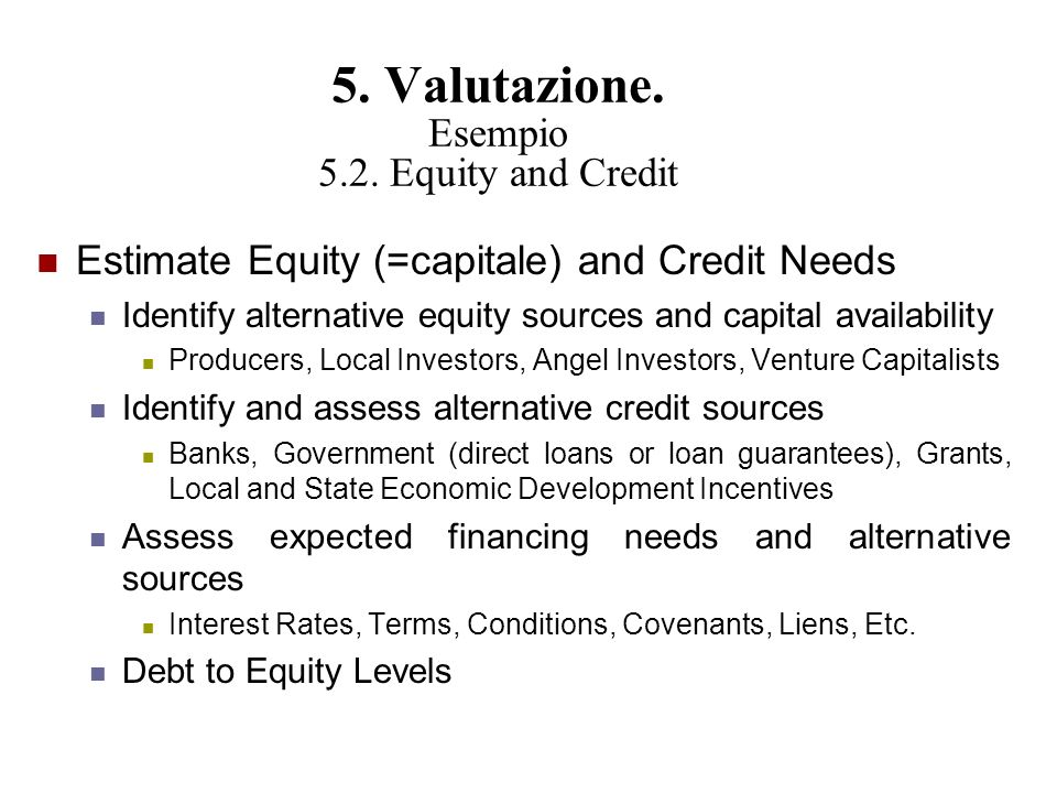 5. Valutazione. Esempio 5.2. Equity and Credit
