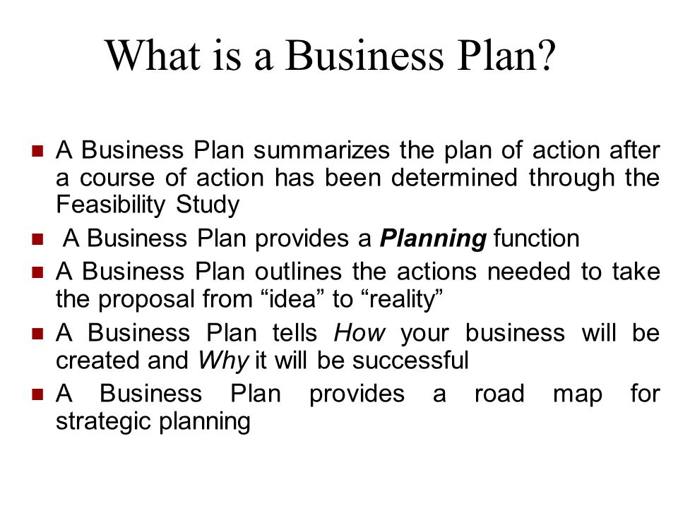 What is a Business Plan A Business Plan summarizes the plan of action after a course of action has been determined through the Feasibility Study.