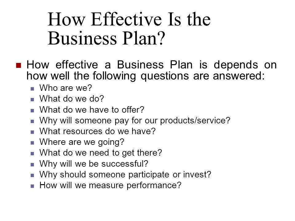 How Effective Is the Business Plan